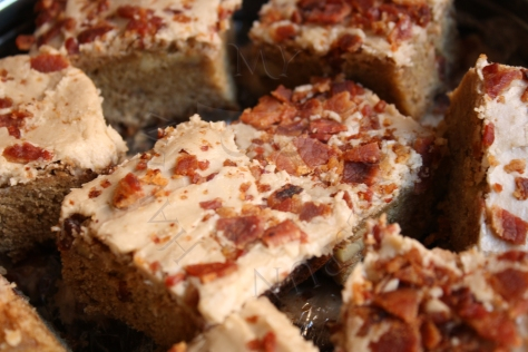 Brown Butter Blondies with Maple Icing and Bacon Sprinkles