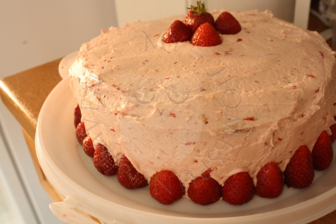 Citrus Cake with Strawberry Buttercream