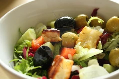 halloumi and olive salad